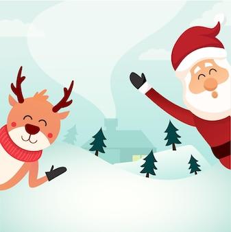 Illustrazione vettoriale di volantino festa di buon natale con tipografia ed elementi natalizi sfondo invernale modello di poster di invito