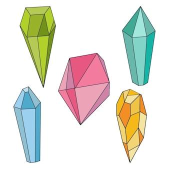 Minerali vettoriali, cristalli, pietre preziose e diamanti. cristalli magici di diverse forme e colori.