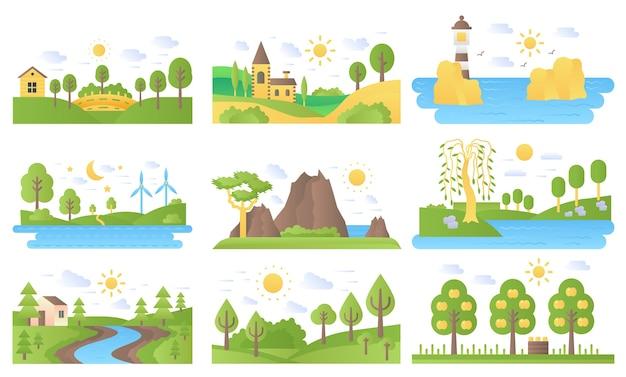Set di icone vettoriali mini paesaggi. ecologia natura e viaggi.