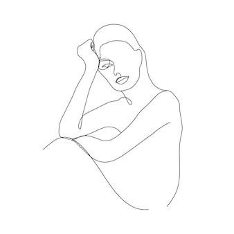 Illustrazione vettoriale minimalista lineare donna illustrazione linea continua astratta disegno faccia moderna una linea
