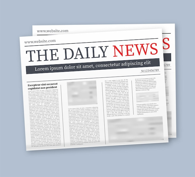Vector mock up di un quotidiano vuoto. intero giornale completamente modificabile in maschera di ritaglio. illustrazione di riserva di vettore,