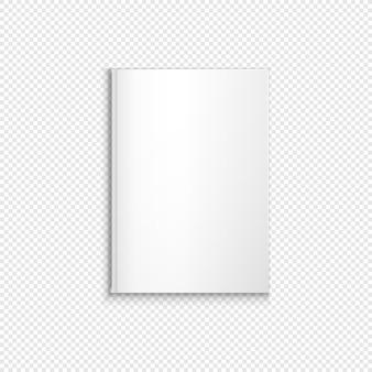 Vector mock up copertina rigida di carta verticale in bianco bianca di libro chiuso, opuscolo, illustrazione di brochure realistica con design modello ombra isolato su sfondo trasparente