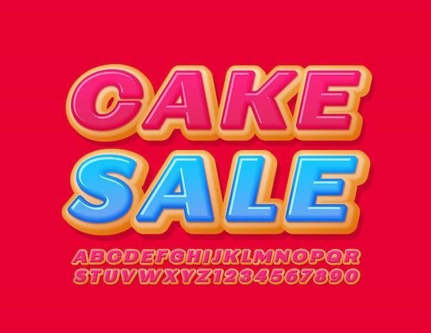 Vendita di torta moderna bandiera di vettore. carattere smaltato rosa. ciambella alfabeto lettere e numeri