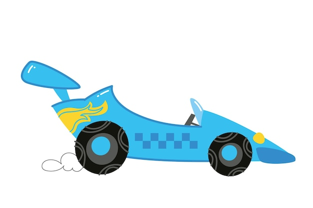 Automobile blu da corsa del fumetto moderno di vettore. auto bambini logo divertente e carino. stampa ragazzo - per vestiti, cartoline, banner. clipart fumetti