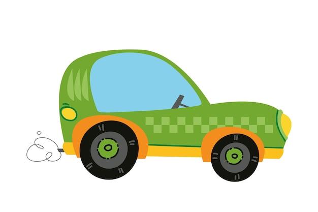 Auto da corsa del fumetto moderno di vettore. auto bambini logo divertente e carino. stampa ragazzo - per vestiti, cartoline, banner. clipart fumetti