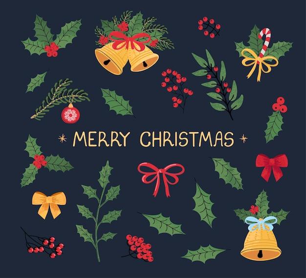 Set vettoriale moderno e colorato con illustrazioni scarabocchiate disegnate a mano di oggetti natalizi e scritte