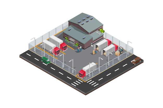 Magazzino di fabbrica isometrica moderna di vettore