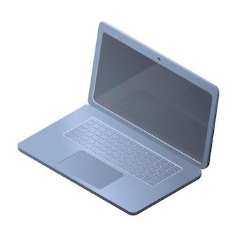 Illustrazione isometrica moderna di vettore. computer portatile volumetrico in metallo nell'aereo con uno schermo vuoto. immagine digitale dei dispositivi e delle tecnologie moderne.