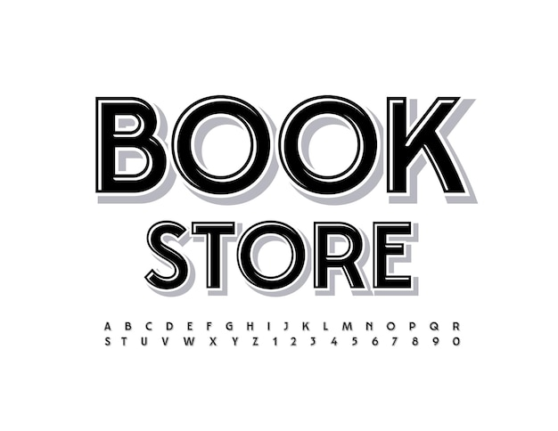 Vector logo moderno book store carattere alla moda nero elegante semplice alfabeto lettere e numeri set