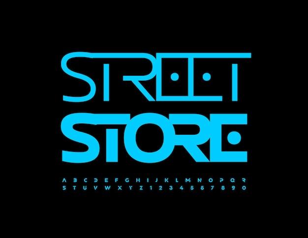 Vector logo moderno street store alla moda carattere luminoso blu elegante set di lettere e numeri dell'alfabeto