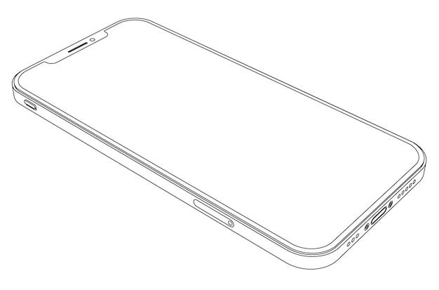 Telefono moderno di vettore - illustrazione dello smartphone del profilo