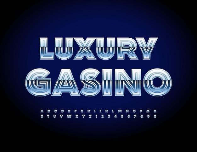 Segno moderno di vettore luxury casino silver lucido alfabeto lettere e numeri elite carattere metallico