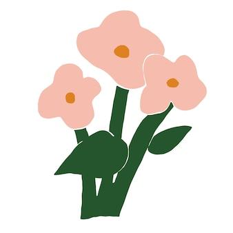 Vettore moderno e semplice stile scandinavo retrò rosa fiore pianta illustrazione risorsa grafica
