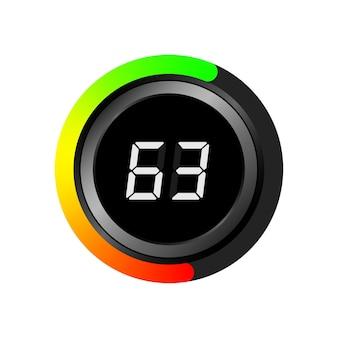 Cronometro moderno di vettore, timer, tachimetro, orologio sportivo.