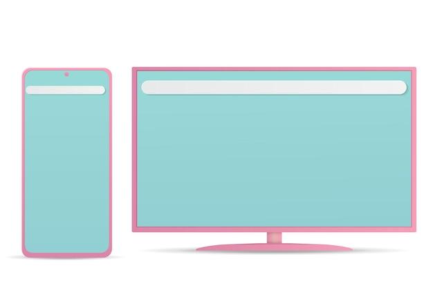 Vettore di monitor e smartphone isolato su bianco