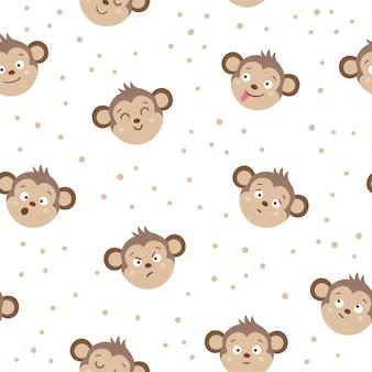 Facce di scimmia vettoriale con diverse emozioni. set di adesivi emoji animali. teste con espressioni divertenti isolate su sfondo bianco. collezione di avatar carini