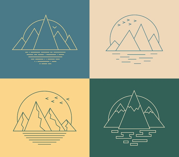 Icona di montagna vettoriale in stile art line emblema geometrico semplice con paesaggio naturale stilizzato