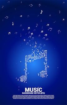 Flusso di dancing della nota di melodia di musica di vettore. priorità bassa di concetto per tema canzone e concerto.