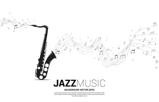 Vector musica melodia nota danza flusso dal sassofono. sfondo del concetto per la canzone jazz e il tema del concerto. Vettore Premium