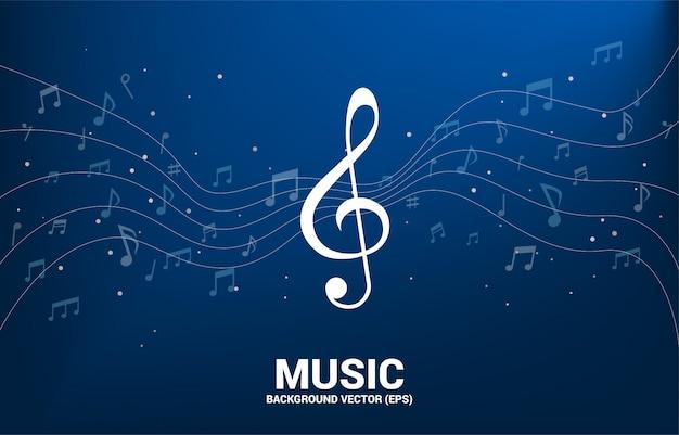 Vector flusso di danza nota melodia di musica