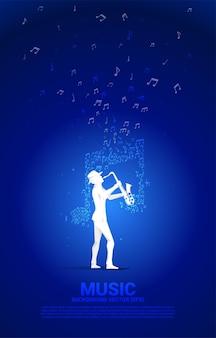 Flusso di note di melodia musicale vettoriale con uomo e sassofono. sfondo del concetto per la canzone jazz e il tema del concerto.