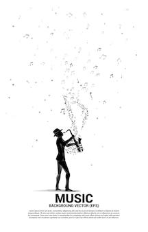 Flusso di note di melodia musicale vettoriale con uomo e sassofono. sfondo del concetto per la canzone jazz e il tema del concerto. Vettore Premium