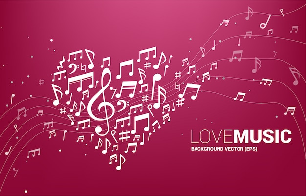 Forma di cuore a forma di nota musica melodia vettoriale. concetto per la canzone e il tema del concerto di musica d'amore.
