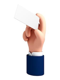 Illustrazione vettoriale mano artoon che tiene un'etichetta di carta bianca o un tag su sfondo bianco. biglietto da visita della tenuta della mano dell'uomo d'affari.