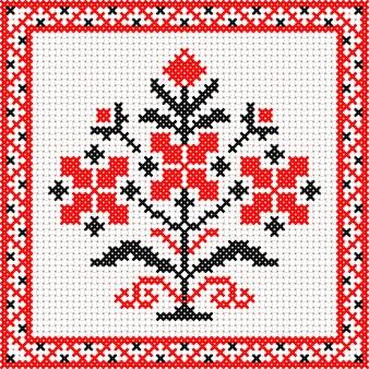 Ornamento floreale della bielorussia nazionale bianco e rosso di vettore. modello etnico slavo. ricamo, punto croce
