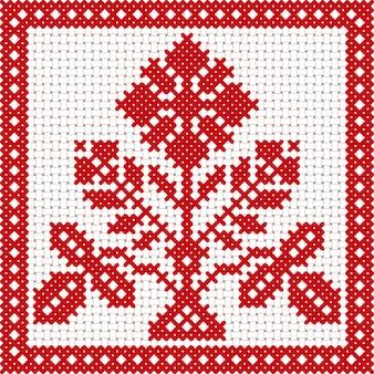 Ornamento floreale della bielorussia nazionale bianco e rosso di vettore