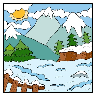 Illustrazione della natura vettoriale, sfondo colorato, montagne invernali