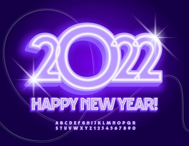 Biglietto di auguri al neon vettoriale felice anno nuovo 2022 set di lettere e numeri dell'alfabeto incandescente