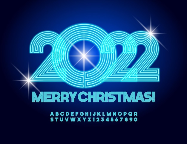 Biglietto d'auguri al neon vettoriale buon natale 2022 carattere blu incandescente alfabeto labirinto elettrico