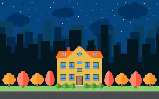Città notturna vettoriale con case ed edifici dei cartoni animati. spazio della città con strada sul concetto di sfondo stile piatto. paesaggio urbano estivo. street view con paesaggio urbano sullo sfondo