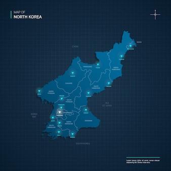 Illustrazione di mappa della corea del nord vettoriale con punti luce al neon blu