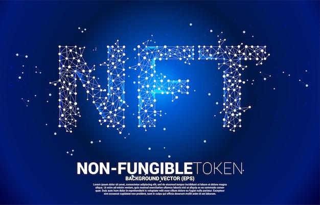 Vector ntf dalla linea di connessione del punto poligono. banner per il mercato dei token non fungibili.