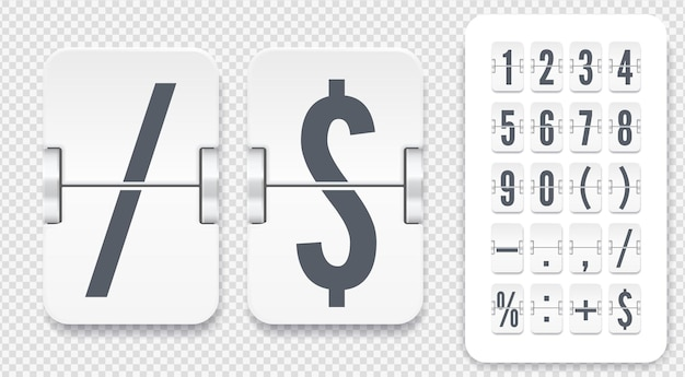 Modello numerico vettoriale per la progettazione del tempo. set di tabellone segnapunti con numeri simboli e ombre per conto alla rovescia bianco o sveglia su sfondo chiaro.