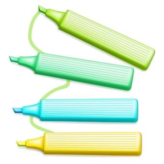 Penne dell'evidenziatore colorate dell'ufficio di vettore messe su bianco