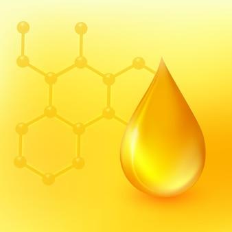 Vector oil drop goccia 3d realistica e simbolo della molecola del dna essenza di collagene dorato icona omega3