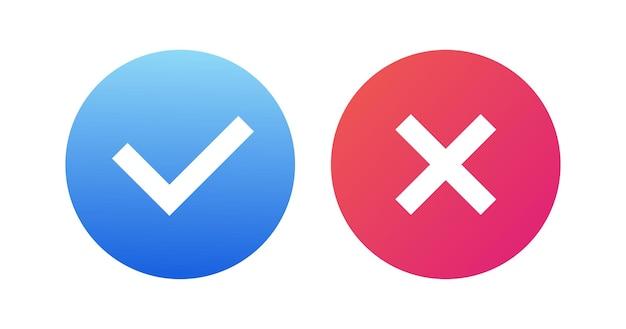 Set di pulsanti vettoriali ok e x isolati sui simboli di sfondo sì e no per il processo decisionale voto mobile