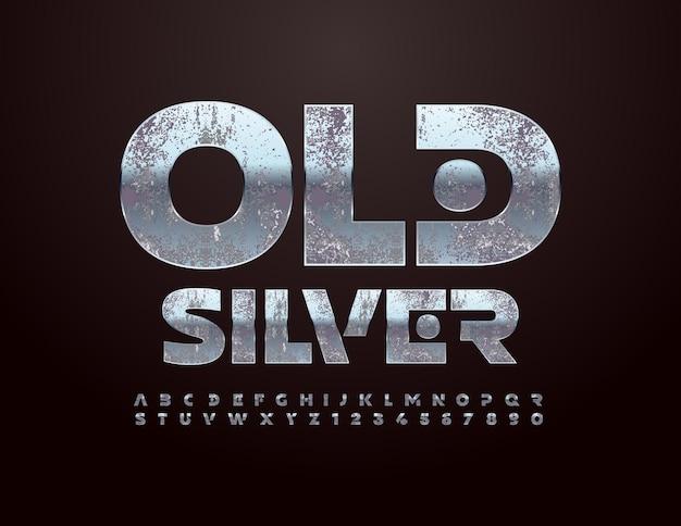 Set di lettere e numeri di alfabeto d'argento antico vettoriale font grungy creativo