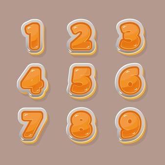 Numeri arancioni vettoriali per la progettazione grafica e del gioco