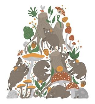 Vettore sfondo ornato con simpatici animali del bosco divertente scena della foresta con cinghiali