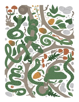 Vettore sfondo ornato con simpatici animali del bosco divertente scena della foresta con serpenti