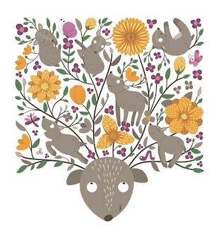Vettore sfondo ornato con simpatici animali del bosco lascia una scena della foresta divertente con cervi
