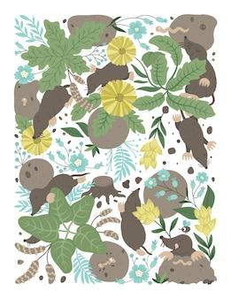Vettore sfondo ornato con simpatici animali del bosco lascia una scena della foresta divertente con talpe