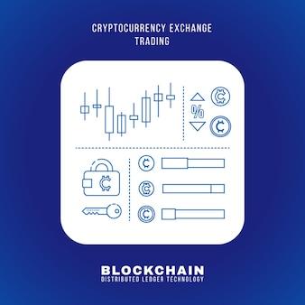 Schema di disegno vettoriale blockchain criptovaluta scambio principio di trading spiegare schema illustrazione bianco quadrato arrotondato icona isolato sfondo blu