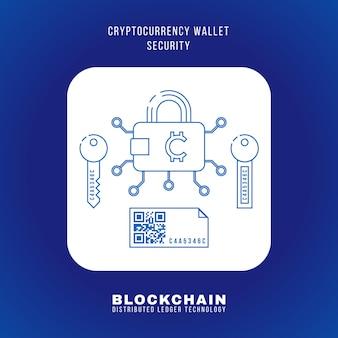 Il principio di sicurezza del portafoglio di criptovaluta blockchain di disegno del profilo di vettore spiega lo schema illustrazione icona quadrata arrotondata bianca isolato sfondo blu