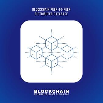 Il principio del database distribuito peer-to-peer blockchain di disegno vettoriale schema spiega lo schema illustrazione bianco quadrato arrotondato icona isolato sfondo blu