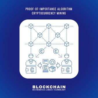 Disegno di contorno vettoriale blockchain prova di importanza algoritmo criptovaluta poi principio di estrazione spiega schema illustrazione bianco quadrato arrotondato icona isolato sfondo blu